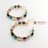 Colorful Multistone Round Hoop Earrings 14K Yellow Gold