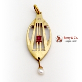 Art Deco Intricate Design Pendant Ruby Diamond Chip Seed Pearl 14K Gold