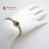 Antique Victorian Modified Bracelet Natural Turquoise 14K Yellow Gold