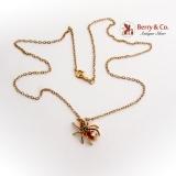 Figural Emerald Diamond Body Spider Pendant Chain Necklace 14K Gold