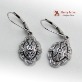 Vintage Ornate Dangle Diamond Earrings 14K White Gold