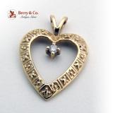 Open Heart Pendant Diamond Accent 14K Yellow Gold 1920