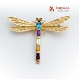 Multistone Figural Dragonfly Brooch Pendant 14K Yellow Gold