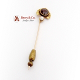 Antique Round Cut Garnet Stick Pin Seed Pearl Accent 10K Gold 1890