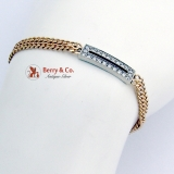 Elegant Double Chain Diamond Bracelet 14K Yellow White Gold