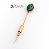 Antique Scarab Stick Pin 14K Yellow Gold