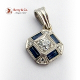Art Deco Synthetic Sapphire Diamond Pendant Platinum