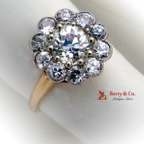 Stunning Full Cut Diamond Flower Ring Yellow Gold