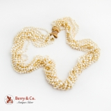Long Multi Strand Fresh Water Pearl Necklace Ornate 14K Gold Diamond Clasp