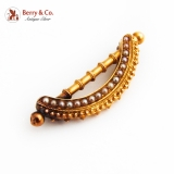 Etruscan Revival Brooch Seed Pearls 15K Yellow Gold 1900 Germany
