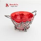 .Ornate Cut Work Serving Bowl Ruby Glass Insert Dutch 833 Standard Silver 1900