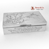 .Pebble Hammered Presentation Box Bamboo Pattern Wai Kee Sterling Silver
