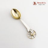 .Michelsen Christmas Spoon 1942 Gilt Bowl Enamel Sterling Silver