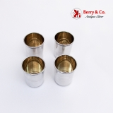.Large Shot Cups Set Gilt Interior Beaded Rim Russian 84 Standard Silver 1895