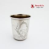 .Vintage Engraved Shot Cup Danish 830 Standard Silver 1894 Mono