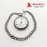 .English Pocket Watch With Chain Engraved Case Sterling Silver 1880 Chester
