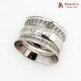 .Greek Key Rim Napkin Ring Sterling Silver 1901 Birmingham Monogram