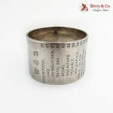 .English Naval Service History Napkin Ring Sterling Silver 1910 Sheffield