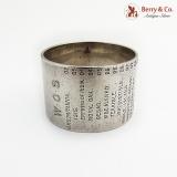 .English Naval Service History Napkin Ring Sterling Silver 1910 Sheffield