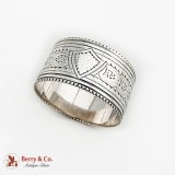 .English Chased Engraved Napkin Ring Sterling Silver 1891 Sheffield No Mono