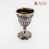 .Repousse Fluted Egg Cup Gilt Interior George Unite Sterling Silver 1889