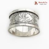 .English Engraved Napkin Ring Robert Pringle Sterling Silver 1902 London Mono