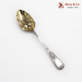 .Georgian Tablespoon Gilt Fruit Bowl Engraved Handle Sterling Silver 1821