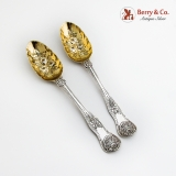 .Victorian Ornate Tablespoons Pair Gilt Floral Bowls Sterling Silver 1849 London