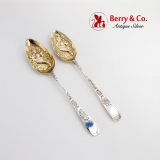 .Georgian Tablespoons Pair Gilt Cornucopia Bowls Sterling Silver 1800 London