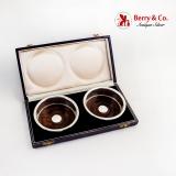 .Exotic Hardwood Sterling Silver Wine Coasters Boxed Set 1977 Birmingham