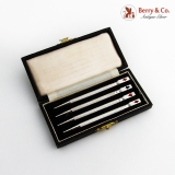 .English Bridge Canasta Pencils Boxed Set Enamel Card Suits Sterling Silver