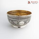 .Victorian Repousse Ornate Bowl Gilt Interior Elkington Co Sterling Silver 1888 Birmingham