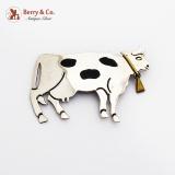 .Figural Sterling Silver Cow Brooch Pendant Brass Enamel