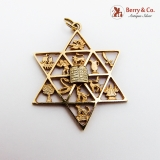 Judaica Ornate Star Of David Figural Pendant 14K Gold