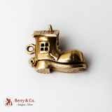 Movable Shoe House Charm Family Inside Yellow Gold Enamel