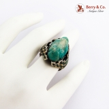 .Carved Green Agate Face Ring Crushed Malachite Inlay Sterling Silver