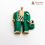 Malachite Elephant Pendant 14K Gold Diamond Accent