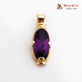 Elongated Oval Amethyst Pendant 14K Yellow Gold Italy
