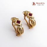 Stunning 18K Gold Half Hoop Earrings Channel Set Diamonds Natural Rubies