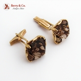 Retro Large Smoky Quartz Cufflinks 14K Gold