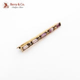 Baguette Cut Amethyst Bar Brooch 14K Gold Seed Pearls