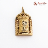 Figural Ornate Judaica Locket Pendant 14K Gold Diamond Sapphires