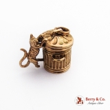 Vintage Movable Trash Can Cat Charm 9 Ct Yellow Gold