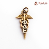 Phi Delta Epsilon Medical Fraternity Pendant Charm 14K Gold