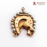 Horseshoe Horse Head Charm Pendant 14K Gold Seed Pearls
