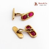 Retro Oblong Yellow Gold Cufflinks Synthetic Rubies Diamonds 1940