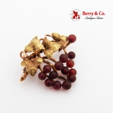 Garnet Grape Bunch Brooch Pin 14K Yellow Gold