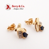 Dark Blue Sapphire Diamond Stud Earrings 14K Yellow Gold