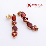 Long Dangle Garnet Earrings 14K Yellow Gold