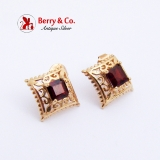Ornate Openwork Garnet Earrings 14K Yellow Gold
